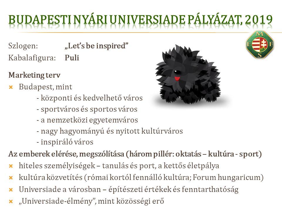 """Szlogen: """"Let's be inspired"""" Kabalafigura:Puli Marketing terv  Budapest, mint - központi és kedvelhető város - sportváros és sportos város - a nemzet"""