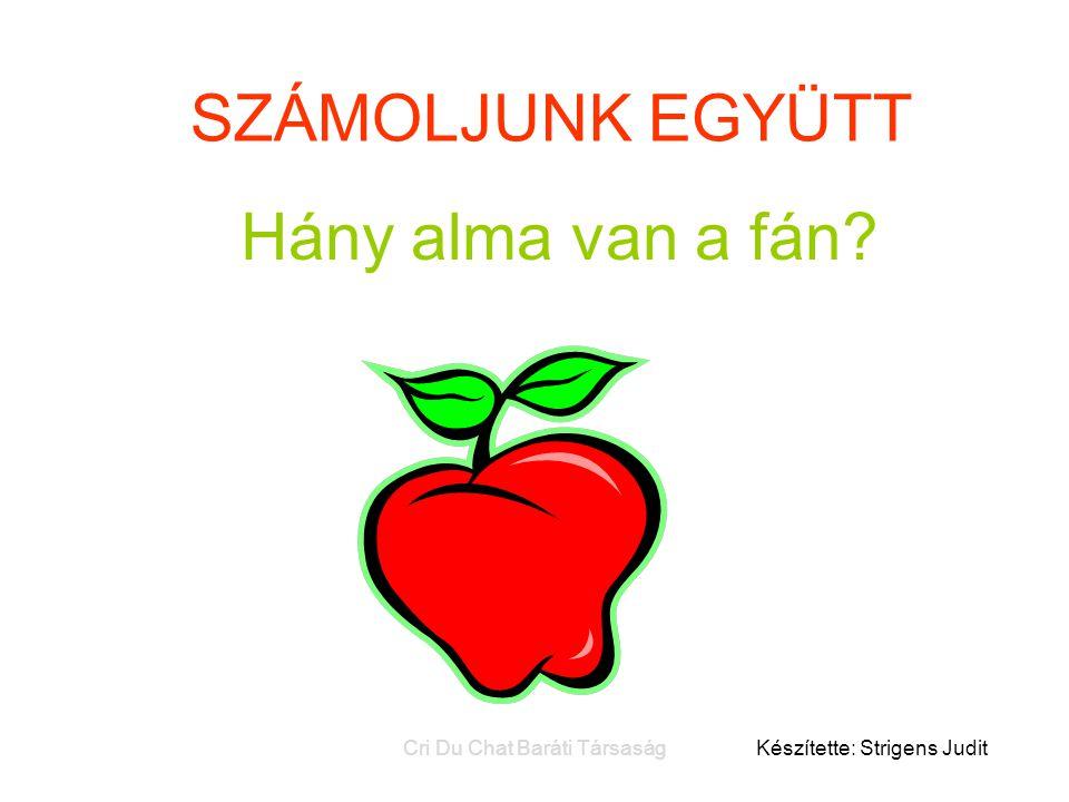SZÁMOLJUNK EGYÜTT Hány alma van a fán? Készítette: Strigens Judit Cri Du Chat Baráti Társaság