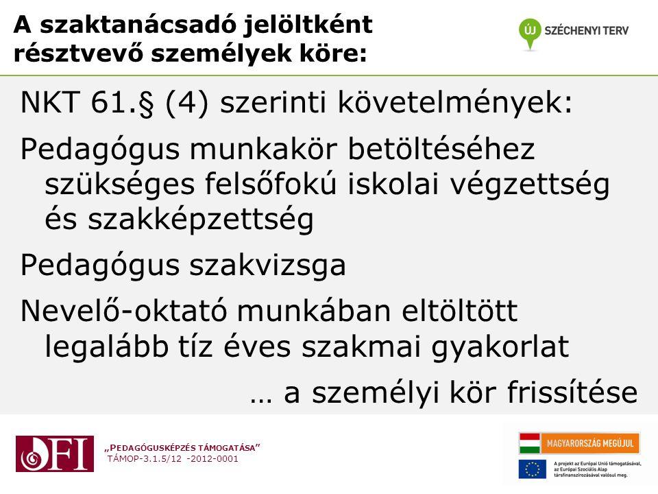 """""""P EDAGÓGUSKÉPZÉS TÁMOGATÁSA TÁMOP-3.1.5/12 -2012-0001 A szaktanácsadó jelöltként résztvevő személyek köre: NKT 61.§ (4) szerinti követelmények: Pedagógus munkakör betöltéséhez szükséges felsőfokú iskolai végzettség és szakképzettség Pedagógus szakvizsga Nevelő-oktató munkában eltöltött legalább tíz éves szakmai gyakorlat … a személyi kör frissítése"""