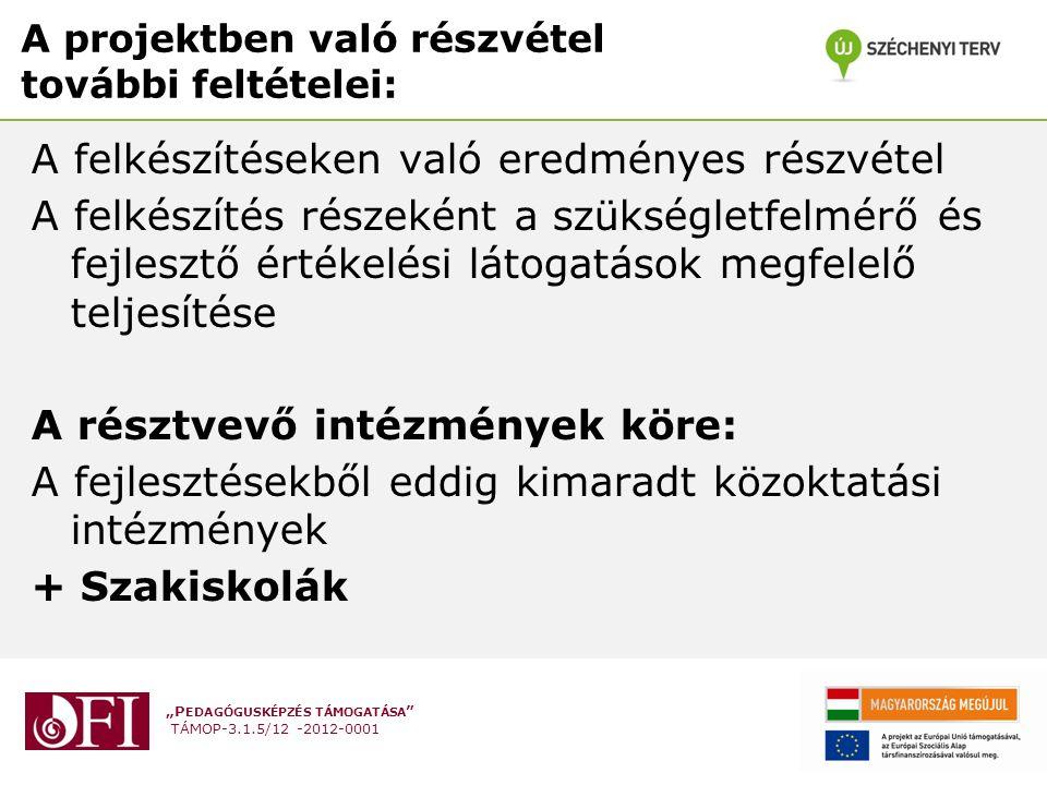 """""""P EDAGÓGUSKÉPZÉS TÁMOGATÁSA TÁMOP-3.1.5/12 -2012-0001 A projektben való részvétel további feltételei: A felkészítéseken való eredményes részvétel A felkészítés részeként a szükségletfelmérő és fejlesztő értékelési látogatások megfelelő teljesítése A résztvevő intézmények köre: A fejlesztésekből eddig kimaradt közoktatási intézmények + Szakiskolák"""