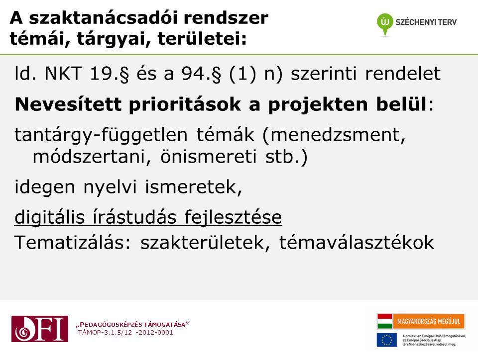 """""""P EDAGÓGUSKÉPZÉS TÁMOGATÁSA TÁMOP-3.1.5/12 -2012-0001 A szaktanácsadói rendszer témái, tárgyai, területei: ld."""