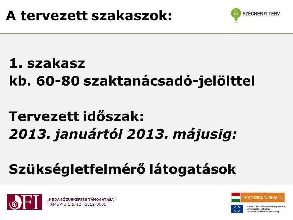 """""""P EDAGÓGUSKÉPZÉS TÁMOGATÁSA TÁMOP-3.1.5/12 -2012-0001 A tervezett szakaszok: 1."""