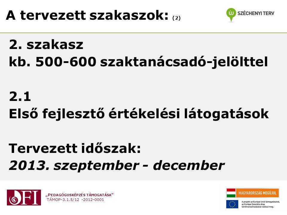 """""""P EDAGÓGUSKÉPZÉS TÁMOGATÁSA TÁMOP-3.1.5/12 -2012-0001 A tervezett szakaszok: (2) 2."""