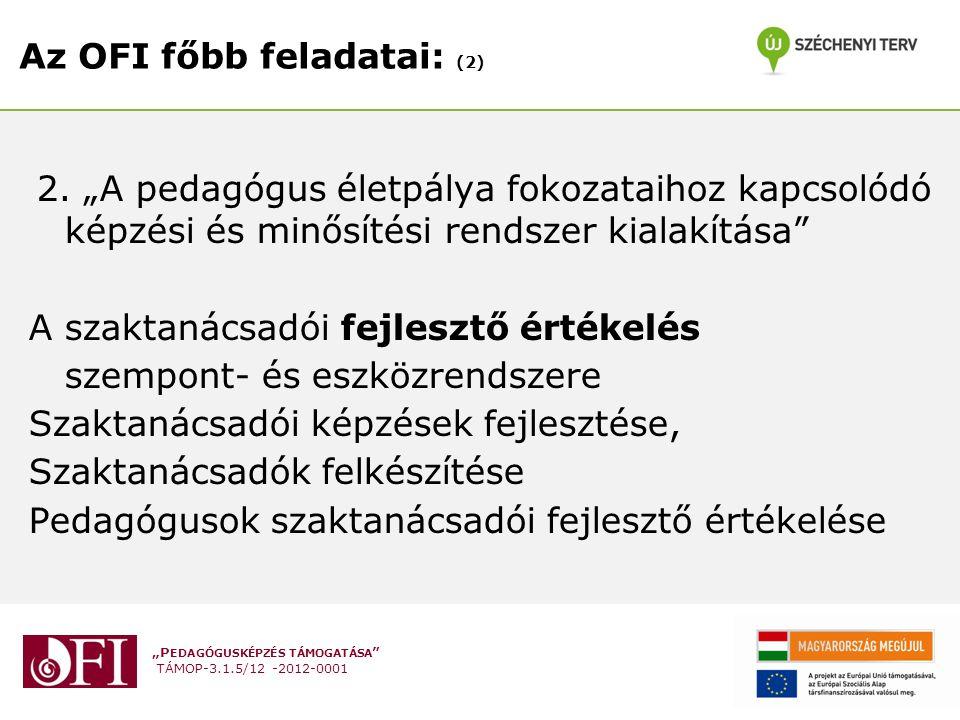 """""""P EDAGÓGUSKÉPZÉS TÁMOGATÁSA TÁMOP-3.1.5/12 -2012-0001 Az OFI főbb feladatai: (2) 2."""