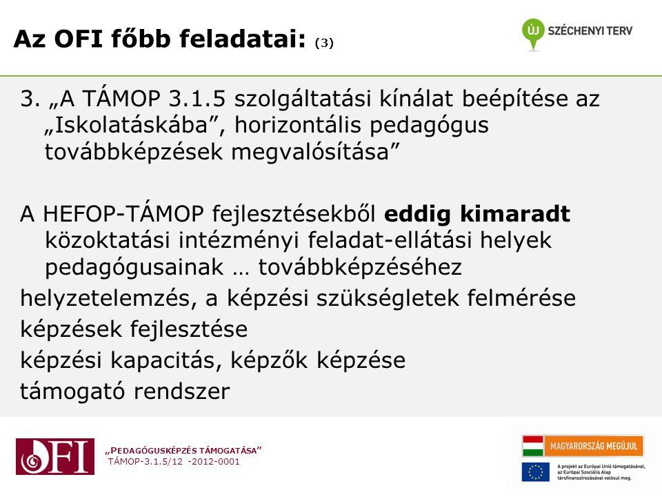 """""""P EDAGÓGUSKÉPZÉS TÁMOGATÁSA TÁMOP-3.1.5/12 -2012-0001 Az OFI főbb feladatai: (3) 3."""