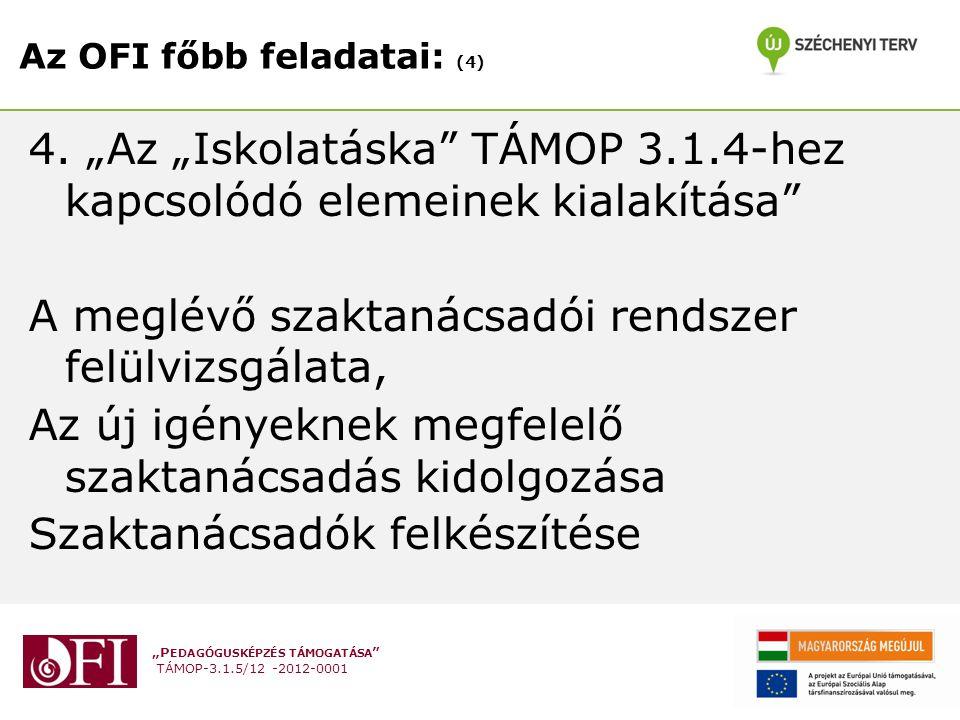"""""""P EDAGÓGUSKÉPZÉS TÁMOGATÁSA TÁMOP-3.1.5/12 -2012-0001 Az OFI főbb feladatai: (4) 4."""