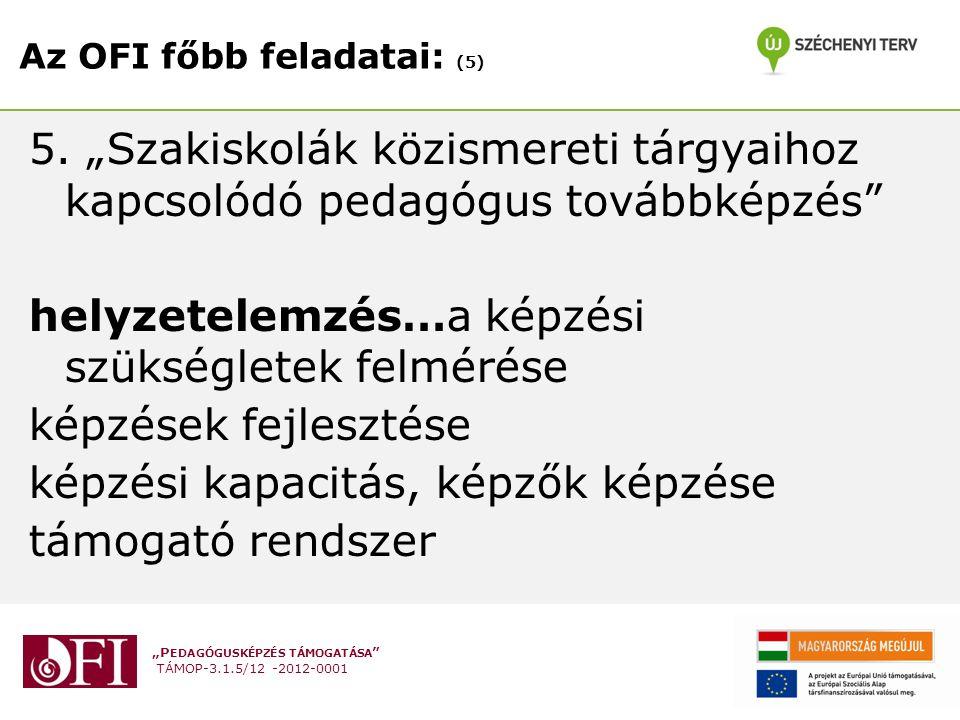 """""""P EDAGÓGUSKÉPZÉS TÁMOGATÁSA TÁMOP-3.1.5/12 -2012-0001 Az OFI főbb feladatai: (5) 5."""