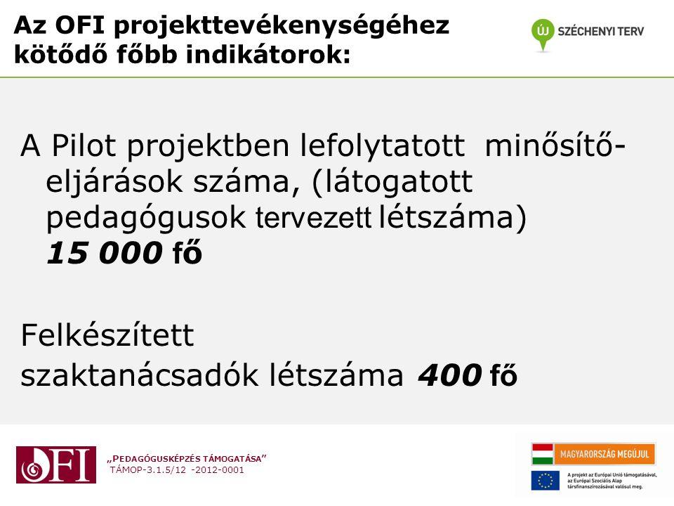 """""""P EDAGÓGUSKÉPZÉS TÁMOGATÁSA TÁMOP-3.1.5/12 -2012-0001 Az OFI projekttevékenységéhez kötődő főbb indikátorok: A Pilot projektben lefolytatott minősítő- eljárások száma, (látogatott pedagógusok tervezett létszáma) 15 000 f ő Felkészített szaktanácsadók létszáma400 fő"""