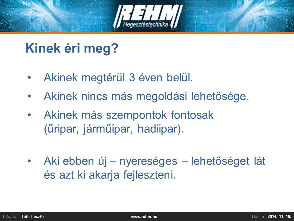 Előadó:Tóth LászlóDátum:2014. 11. 19.www.rehm.hu Kinek éri meg? Akinek megtérül 3 éven belül. Akinek nincs más megoldási lehetősége. Akinek más szempo