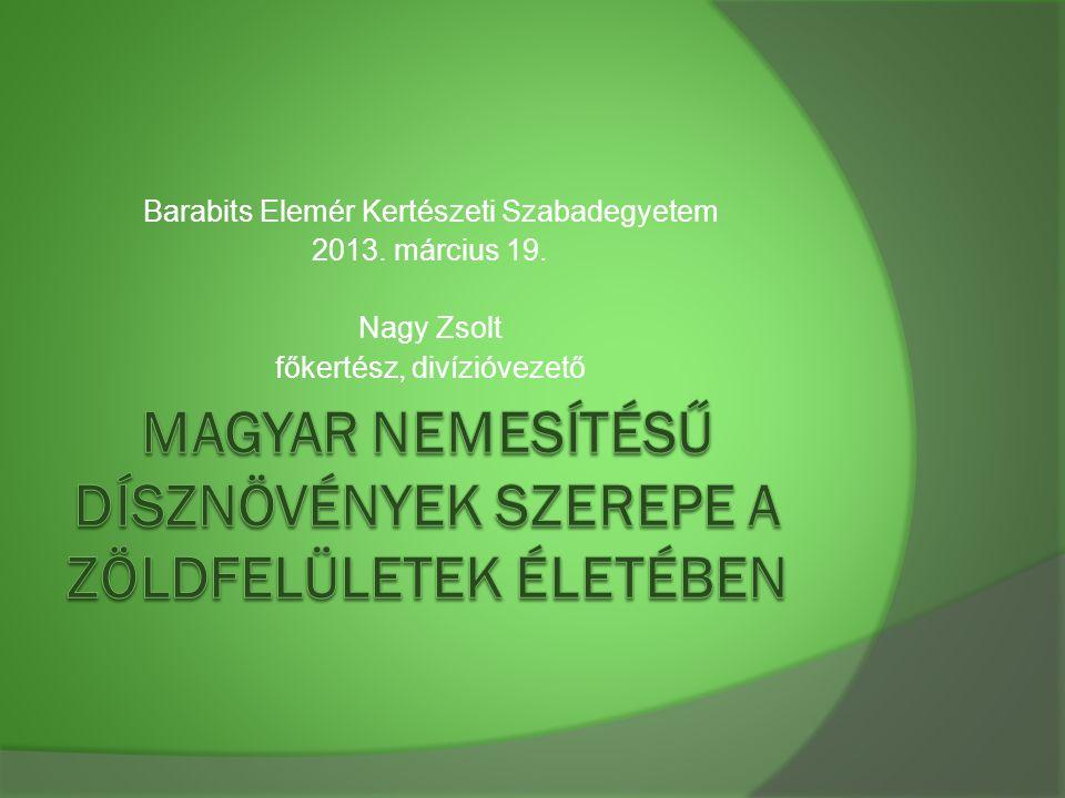 Barabits Elemér Kertészeti Szabadegyetem 2013. március 19. Nagy Zsolt főkertész, divízióvezető