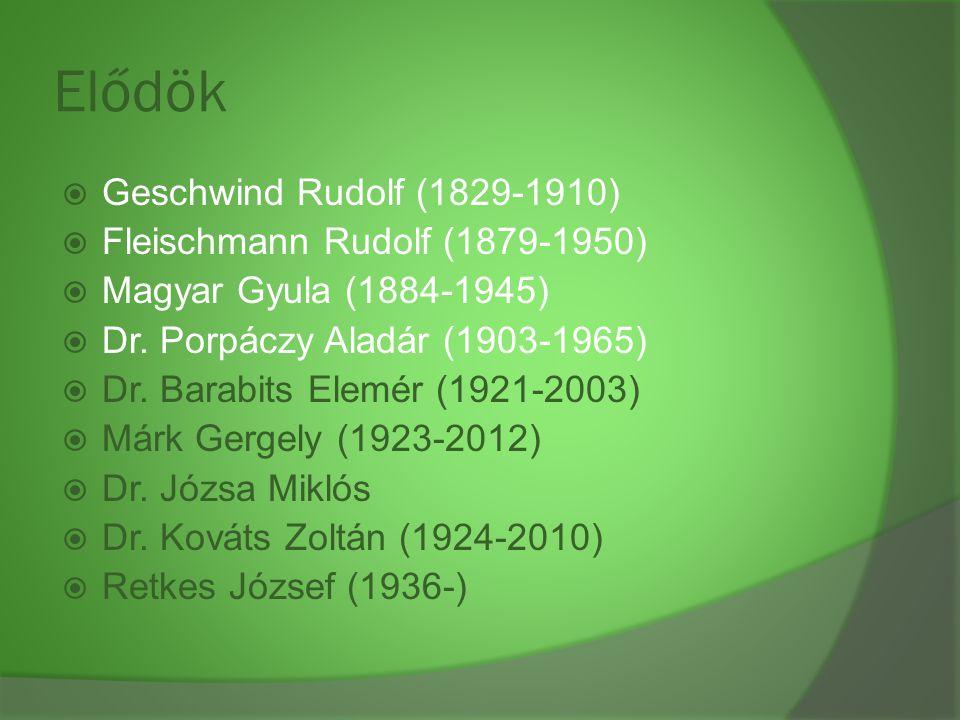 Elődök  Geschwind Rudolf (1829-1910)  Fleischmann Rudolf (1879-1950)  Magyar Gyula (1884-1945)  Dr. Porpáczy Aladár (1903-1965)  Dr. Barabits Ele