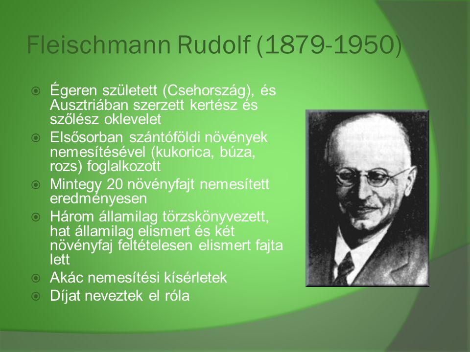 Fleischmann Rudolf (1879-1950)  Égeren született (Csehország), és Ausztriában szerzett kertész és szőlész oklevelet  Elsősorban szántóföldi növények