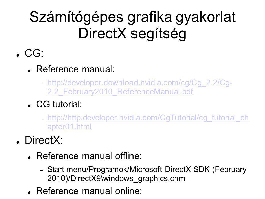 Számítógépes grafika gyakorlat DirectX segítség A CG Toolkit és a DirectX SDK után be kell állítani a Visual Studio-ban az elérési utakat: Tools/Options/Project and Solutions/VC++ Directories-ban: