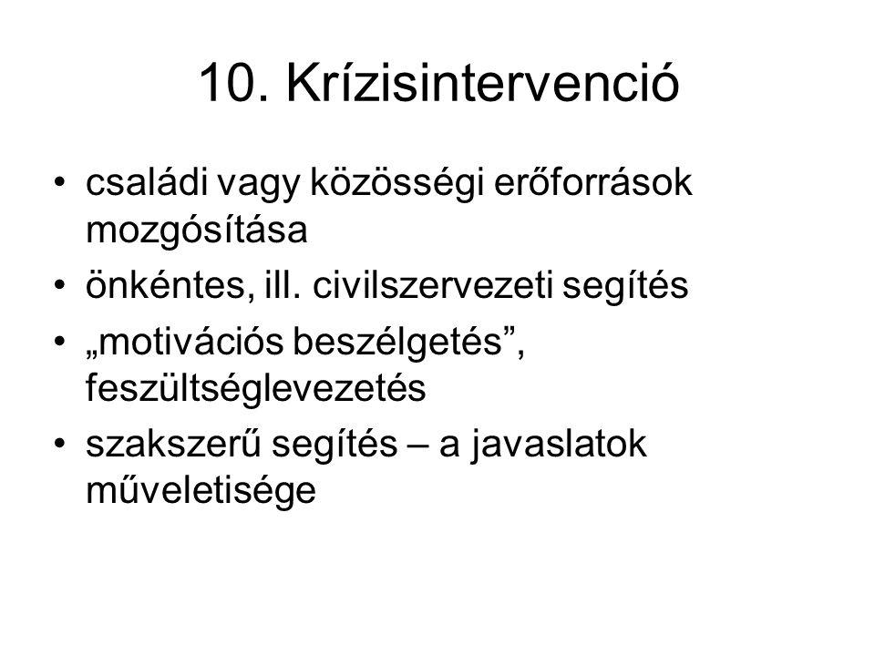 """10. Krízisintervenció családi vagy közösségi erőforrások mozgósítása önkéntes, ill. civilszervezeti segítés """"motivációs beszélgetés"""", feszültségleveze"""
