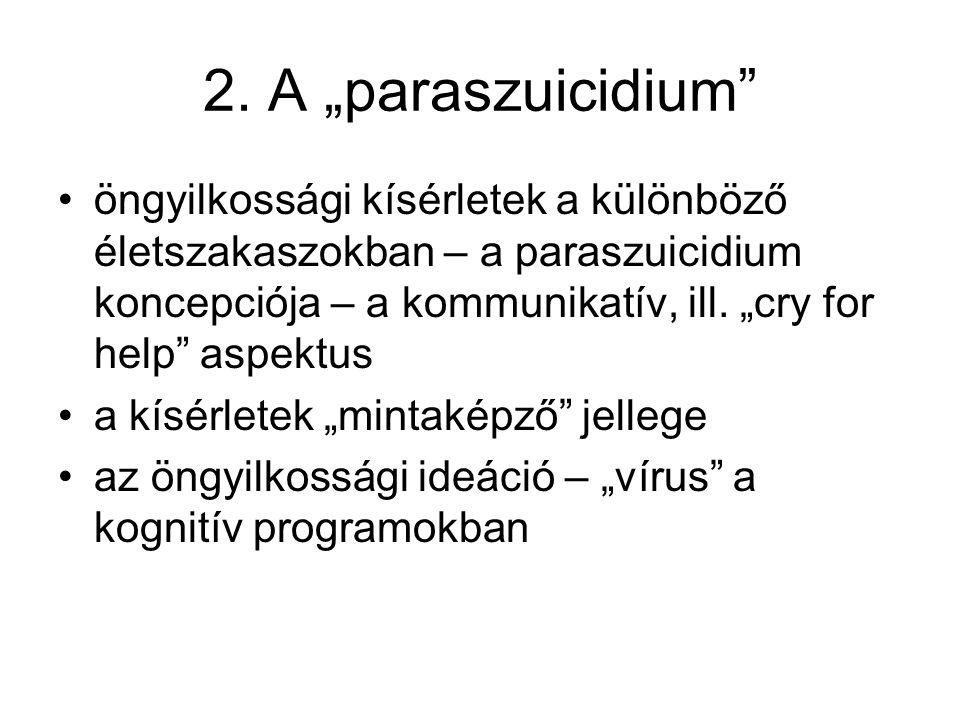 """2. A """"paraszuicidium"""" öngyilkossági kísérletek a különböző életszakaszokban – a paraszuicidium koncepciója – a kommunikatív, ill. """"cry for help"""" aspek"""