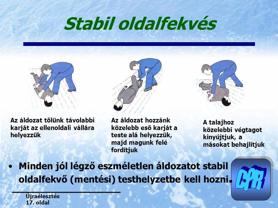 Stabil oldalfekvés Minden jól légző eszméletlen áldozatot stabil oldalfekvő (mentési) testhelyzetbe kell hozni. Az áldozat tőlünk távolabbi karját az