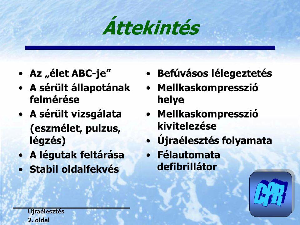 """Áttekintés Az """"élet ABC-je"""" A sérült állapotának felmérése A sérült vizsgálata (eszmélet, pulzus, légzés) A légutak feltárása Stabil oldalfekvés Befúv"""