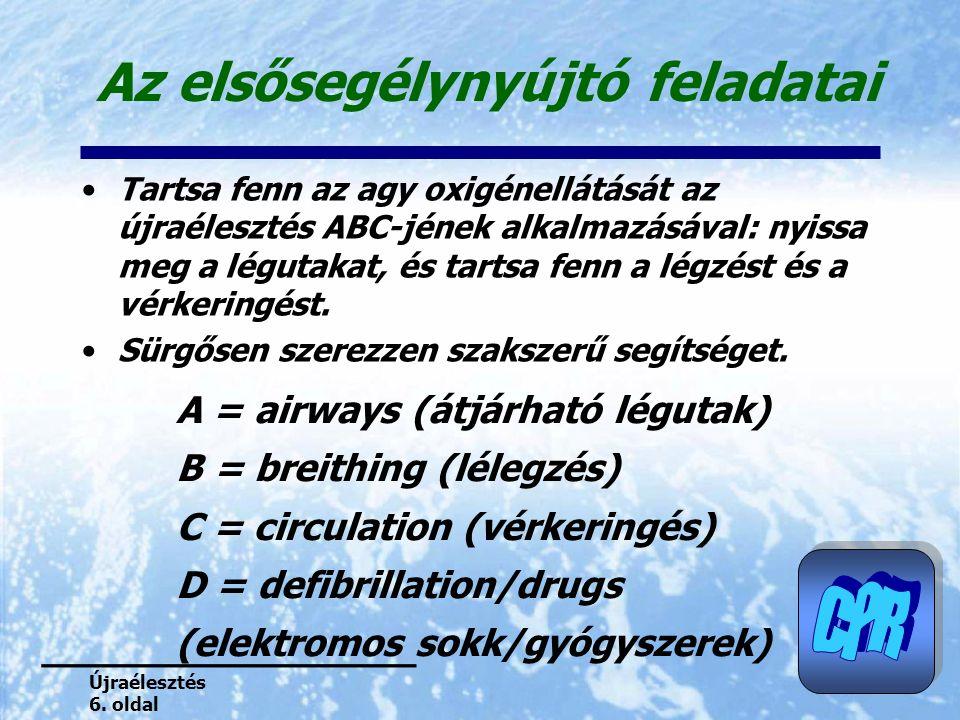 Az elsősegélynyújtó feladatai Tartsa fenn az agy oxigénellátását az újraélesztés ABC-jének alkalmazásával: nyissa meg a légutakat, és tartsa fenn a lé