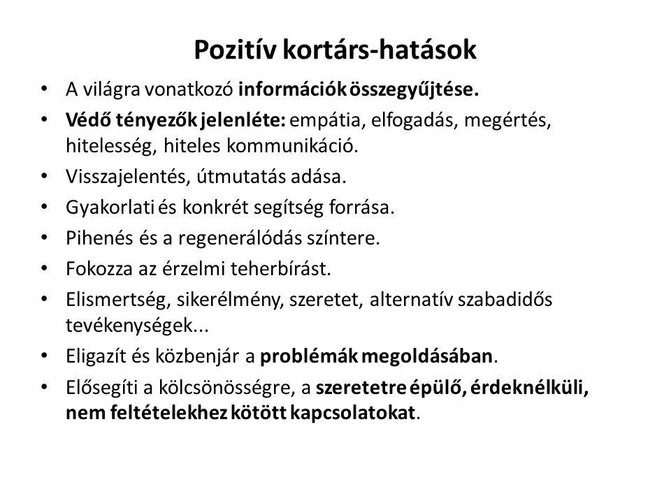 Pozitív kortárs-hatások A világra vonatkozó információk összegyűjtése.