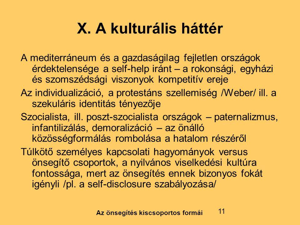 Az önsegítés kiscsoportos formái 11 X. A kulturális háttér A mediterráneum és a gazdaságilag fejletlen országok érdektelensége a self-help iránt – a r