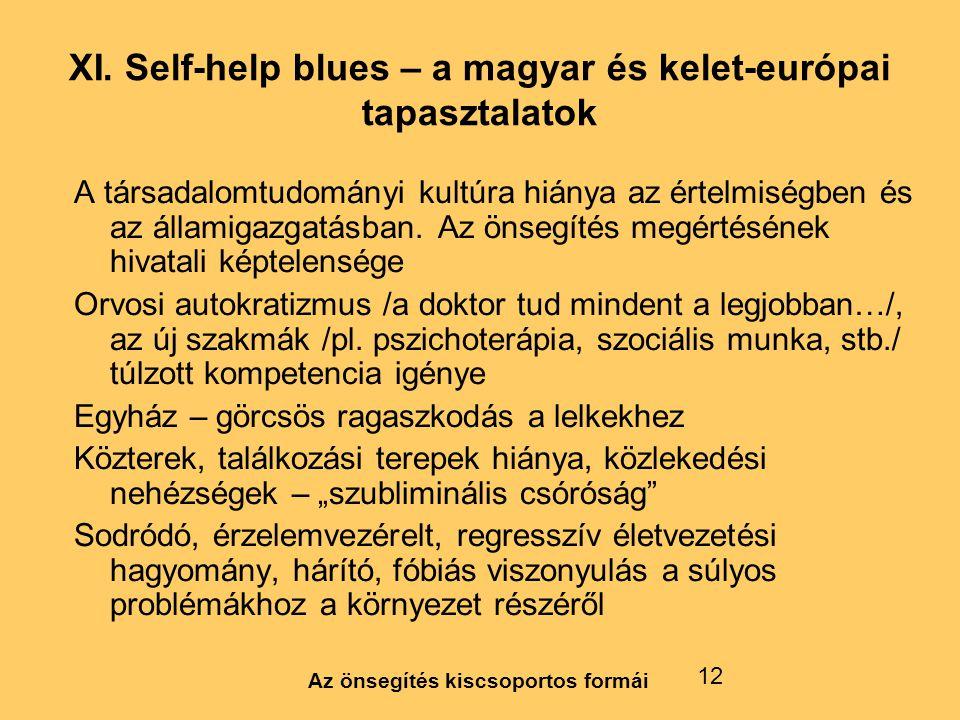 Az önsegítés kiscsoportos formái 12 XI. Self-help blues – a magyar és kelet-európai tapasztalatok A társadalomtudományi kultúra hiánya az értelmiségbe
