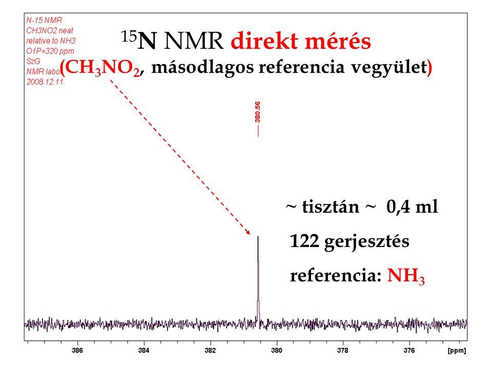 15 N NMR direkt mérés (CH 3 NO 2, másodlagos referencia vegyület) ~ tisztán ~ 0,4 ml 122 gerjesztés referencia: NH 3