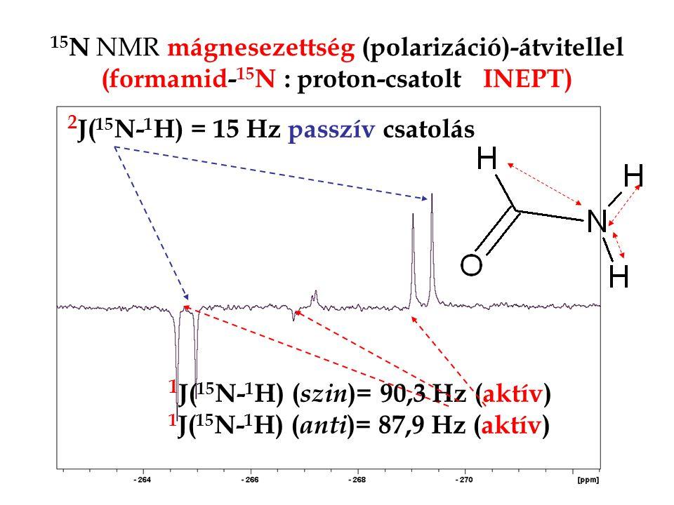 15 N NMR mágnesezettség (polarizáció)-átvitellel (formamid- 15 N : proton-csatolt INEPT) 1 J( 15 N- 1 H) ( szin )= 90,3 Hz (aktív) 1 J( 15 N- 1 H) ( anti )= 87,9 Hz (aktív) 2 J( 15 N- 1 H) = 15 Hz passzív csatolás