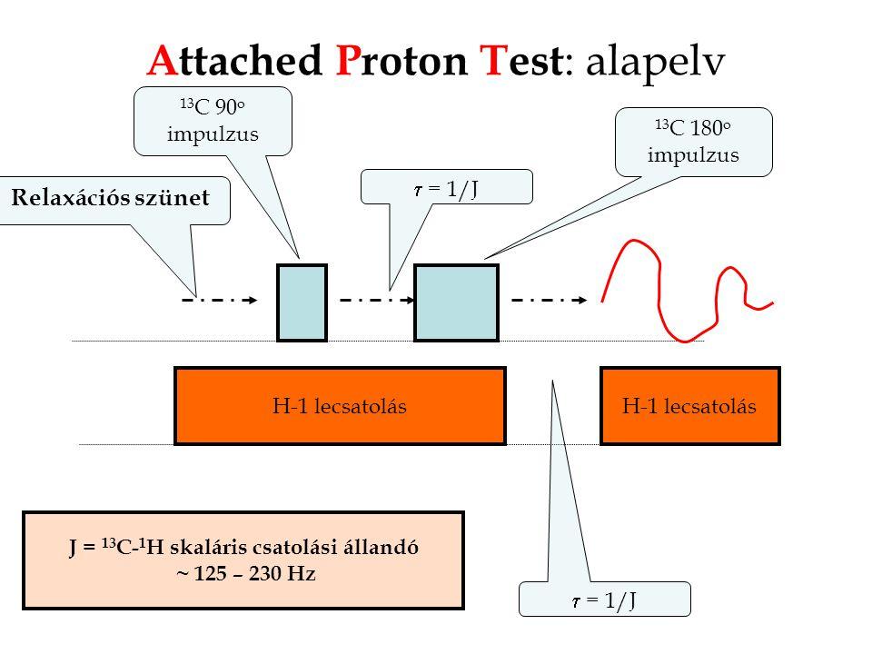 Attached Proton Test : alapelv 13 C 180 o impulzus H-1 lecsatolás Relaxációs szünet  = 1/J H-1 lecsatolás  = 1/J 13 C 90 o impulzus J = 13 C- 1 H skaláris csatolási állandó ~ 125 – 230 Hz