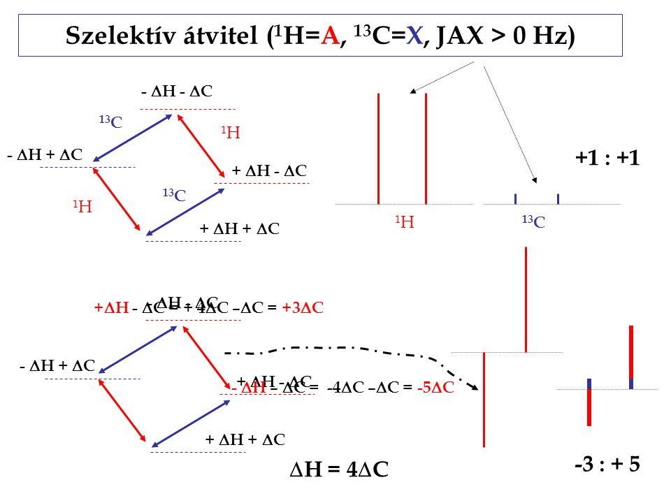 Szelektív átvitel ( 1 H=A, 13 C=X, JAX > 0 Hz) +  H +  C -  H -  C -  H +  C +  H -  C +  H +  C -  H -  C -  H +  C +  H -  C -  H –  C = -4  C –  C = -5  C +  H -  C = + 4  C –  C = +3  C +1 : +1 -3 : + 5  H = 4  C 1H1H 1H1H 13 C 1H1H