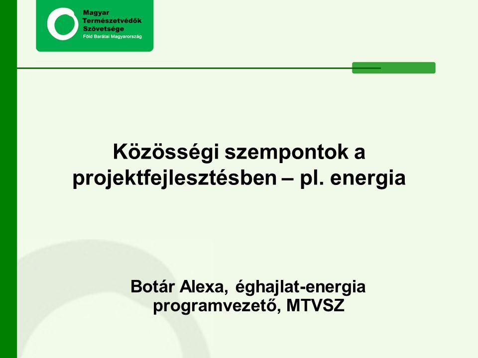 Botár Alexa, éghajlat-energia programvezető, MTVSZ Közösségi szempontok a projektfejlesztésben – pl. energia