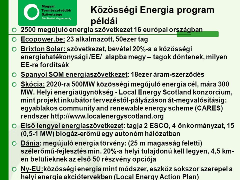 Közösségi Energia program példái 2500 megújuló energia szövetkezet 16 európai országban Ecopower.be: 23 alkalmazott, 50ezer tag Brixton Solar: szövetk