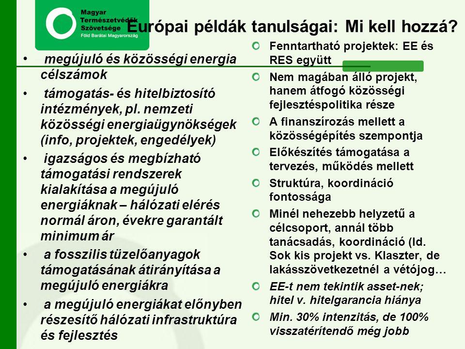 Európai példák tanulságai: Mi kell hozzá? megújuló és közösségi energia célszámok támogatás- és hitelbiztosító intézmények, pl. nemzeti közösségi ener