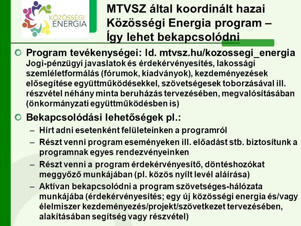 MTVSZ által koordinált hazai Közösségi Energia program – Így lehet bekapcsolódni Program tevékenységei: ld. mtvsz.hu/kozossegi_energia Jogi-pénzügyi j