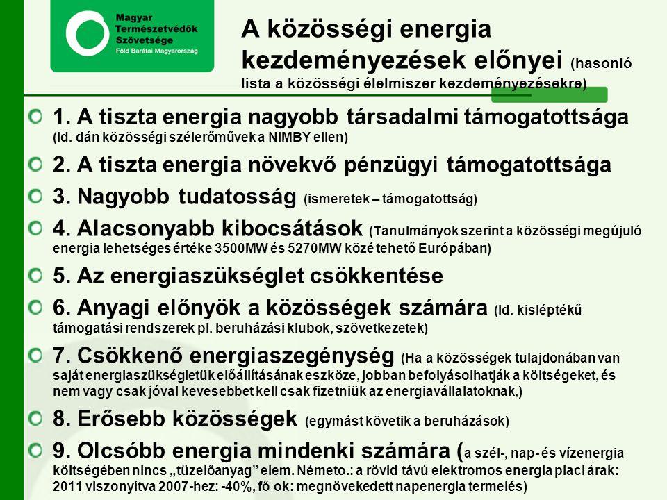 A közösségi energia kezdeményezések előnyei (hasonló lista a közösségi élelmiszer kezdeményezésekre) 1. A tiszta energia nagyobb társadalmi támogatott