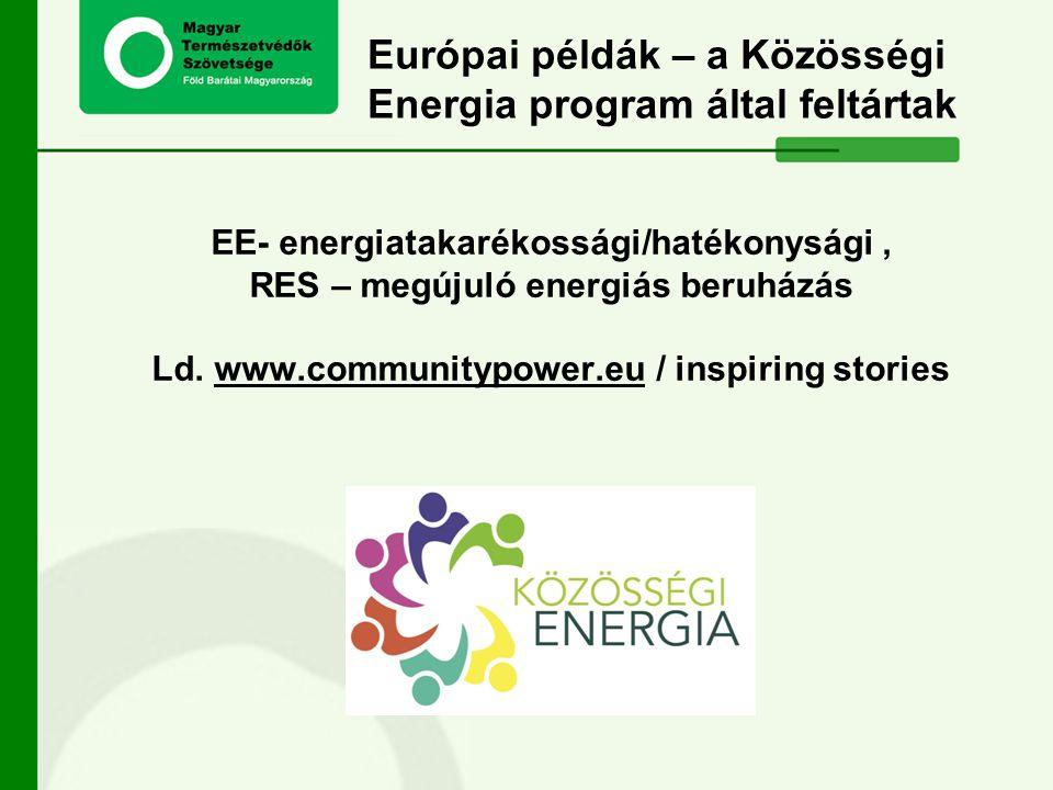 Európai példák – a Közösségi Energia program által feltártak EE- energiatakarékossági/hatékonysági, RES – megújuló energiás beruházás Ld. www.communit