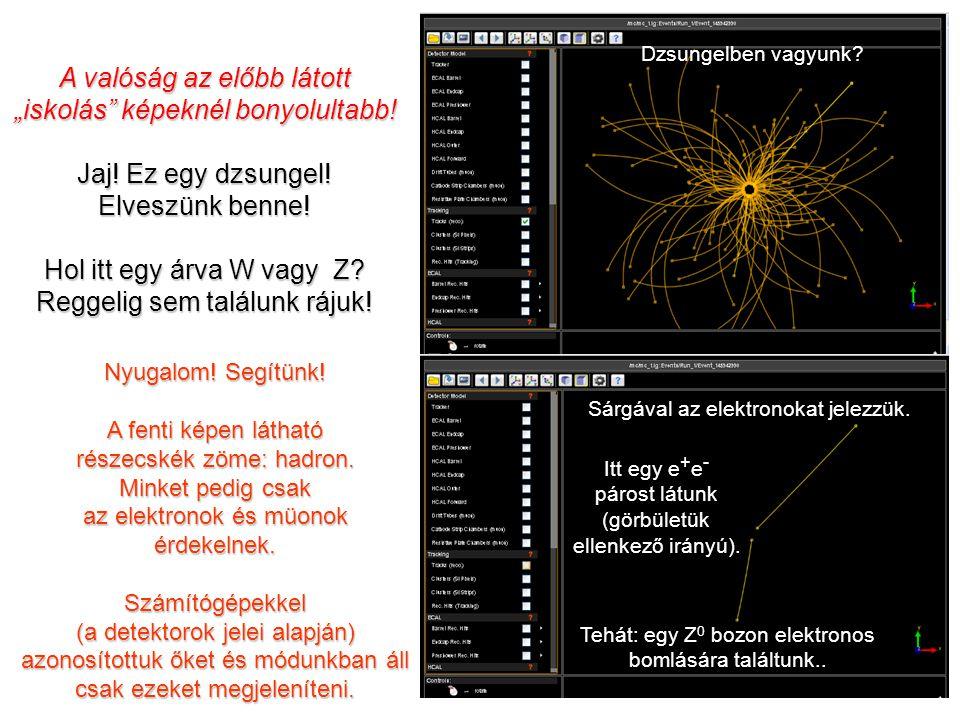(e + ) (e - ) (-)(-) W/Z: Keletkeznek és azon nyomban el is bomlanak: W   e   vagy    Z 0  e + e - vagy  +  - Az alábbiakat kéretik gondos