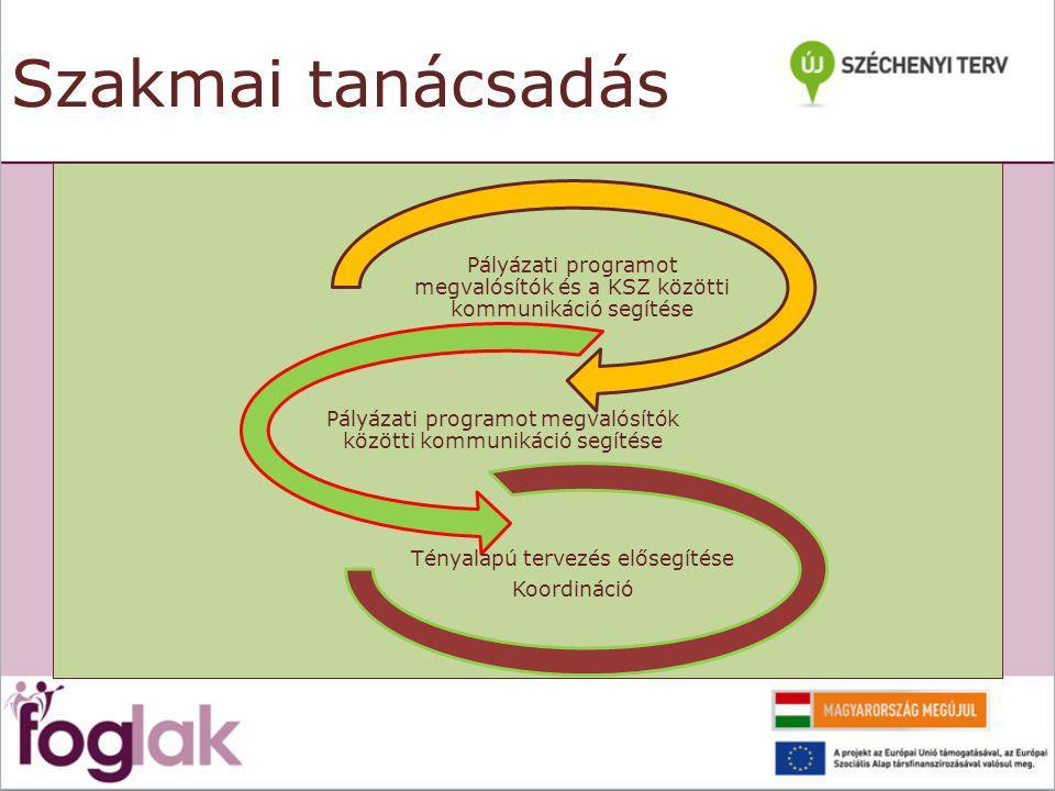 Szakmai tanácsadás Pályázati programot megvalósítók és a KSZ közötti kommunikáció segítése Pályázati programot megvalósítók közötti kommunikáció segítése Tényalapú tervezés elősegítése Koordináció