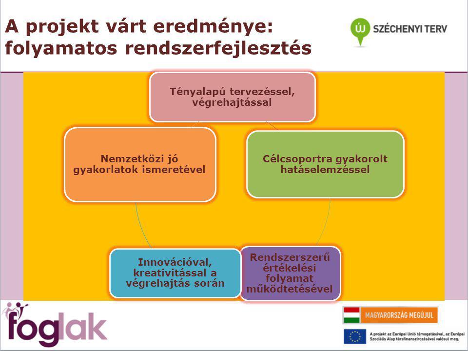A projekt várt eredménye: folyamatos rendszerfejlesztés Tényalapú tervezéssel, végrehajtással Célcsoportra gyakorolt hatáselemzéssel Rendszerszerű értékelési folyamat működtetésével Innovációval, kreativitással a végrehajtás során Nemzetközi jó gyakorlatok ismeretével