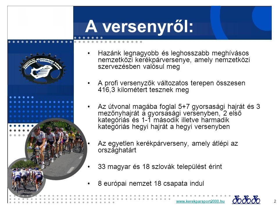 A versenyről: Hazánk legnagyobb és leghosszabb meghívásos nemzetközi kerékpárversenye, amely nemzetközi szervezésben valósul meg A profi versenyzők változatos terepen összesen 416,3 kilométert tesznek meg Az útvonal magába foglal 5+7 gyorsasági hajrát és 3 mezőnyhajrát a gyorsasági versenyben, 2 első kategóriás és 1-1 második illetve harmadik kategóriás hegyi hajrát a hegyi versenyben Az egyetlen kerékpárverseny, amely átlépi az országhatárt 33 magyar és 18 szlovák települést érint 8 európai nemzet 18 csapata indul www.kerekparsport2000.huwww.kerekparsport2000.hu 2