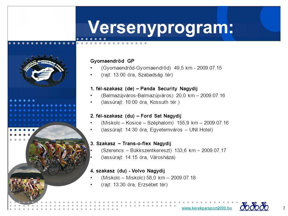 Versenyprogram: Gyomaendrőd GP (Gyomaendrőd-Gyomaendrőd) 49,5 km - 2009.07.15 (rajt: 13:00 óra, Szabadság tér) 1.