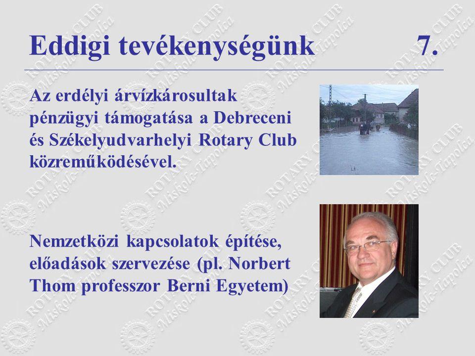 Eddigi tevékenységünk 7.Nemzetközi kapcsolatok építése, előadások szervezése (pl.
