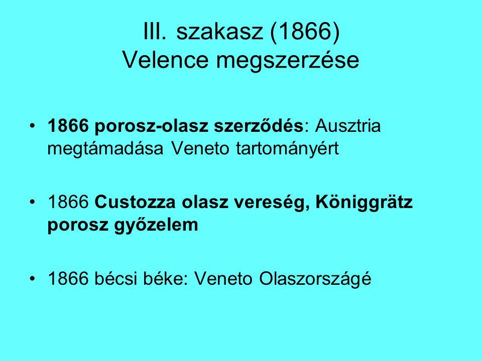 III. szakasz (1866) Velence megszerzése 1866 porosz-olasz szerződés: Ausztria megtámadása Veneto tartományért 1866 Custozza olasz vereség, Königgrätz