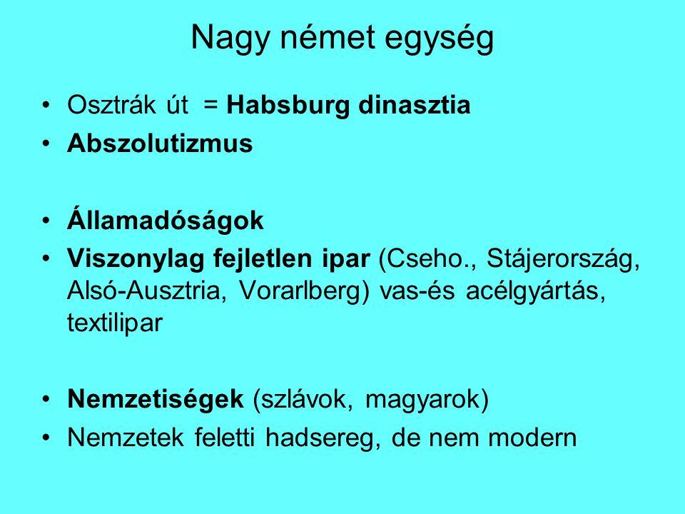 Nagy német egység Osztrák út = Habsburg dinasztia Abszolutizmus Államadóságok Viszonylag fejletlen ipar (Cseho., Stájerország, Alsó-Ausztria, Vorarlberg) vas-és acélgyártás, textilipar Nemzetiségek (szlávok, magyarok) Nemzetek feletti hadsereg, de nem modern