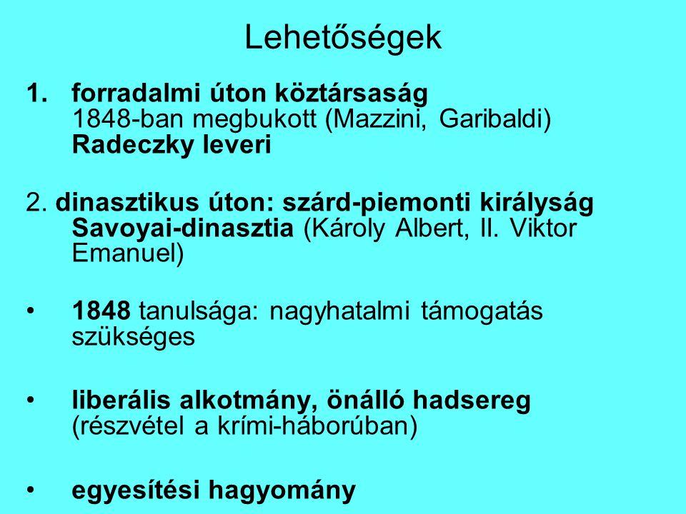 Lehetőségek 1.forradalmi úton köztársaság 1848-ban megbukott (Mazzini, Garibaldi) Radeczky leveri 2.