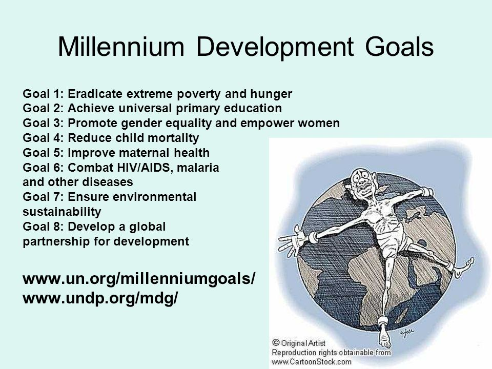 Millennium Development Goals Goal 1: Eradicate extreme poverty and hunger Goal 2: Achieve universal primary education Goal 3: Promote gender equality