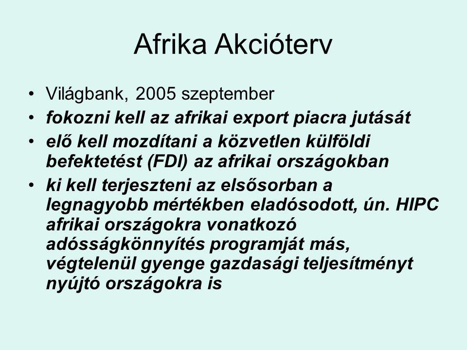 Afrika Akcióterv Világbank, 2005 szeptember fokozni kell az afrikai export piacra jutását elő kell mozdítani a közvetlen külföldi befektetést (FDI) az afrikai országokban ki kell terjeszteni az elsősorban a legnagyobb mértékben eladósodott, ún.