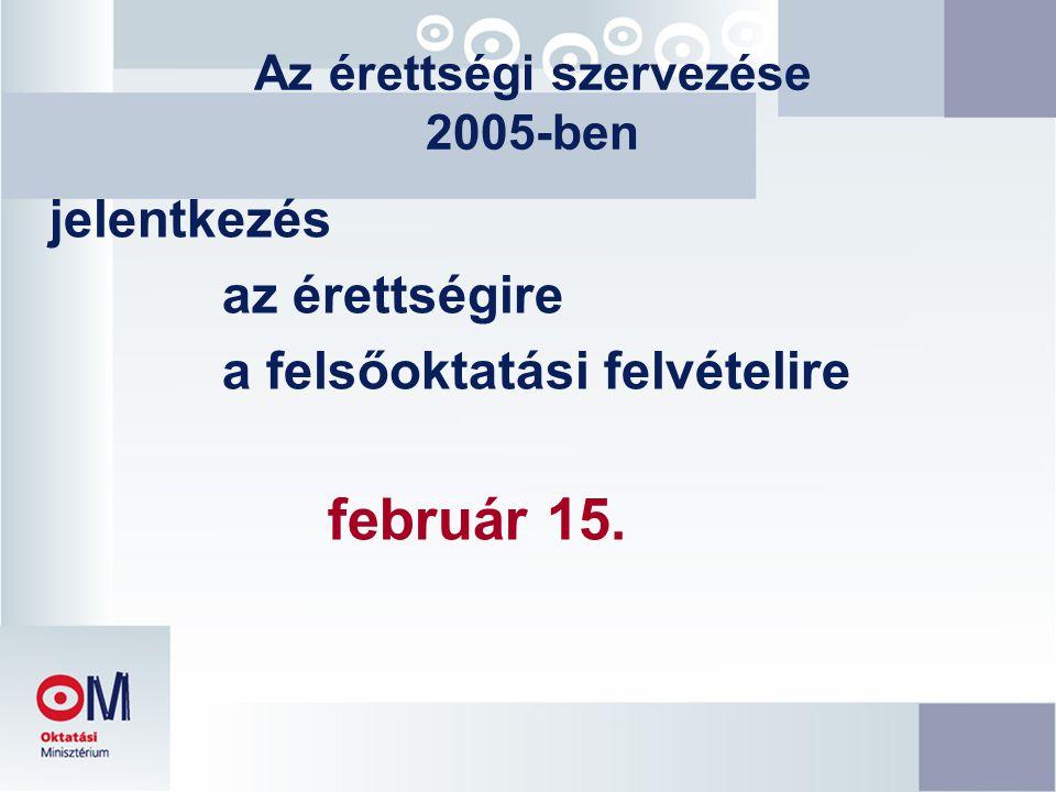 Az érettségi szervezése 2005-ben jelentkezés az érettségire a felsőoktatási felvételire február 15.