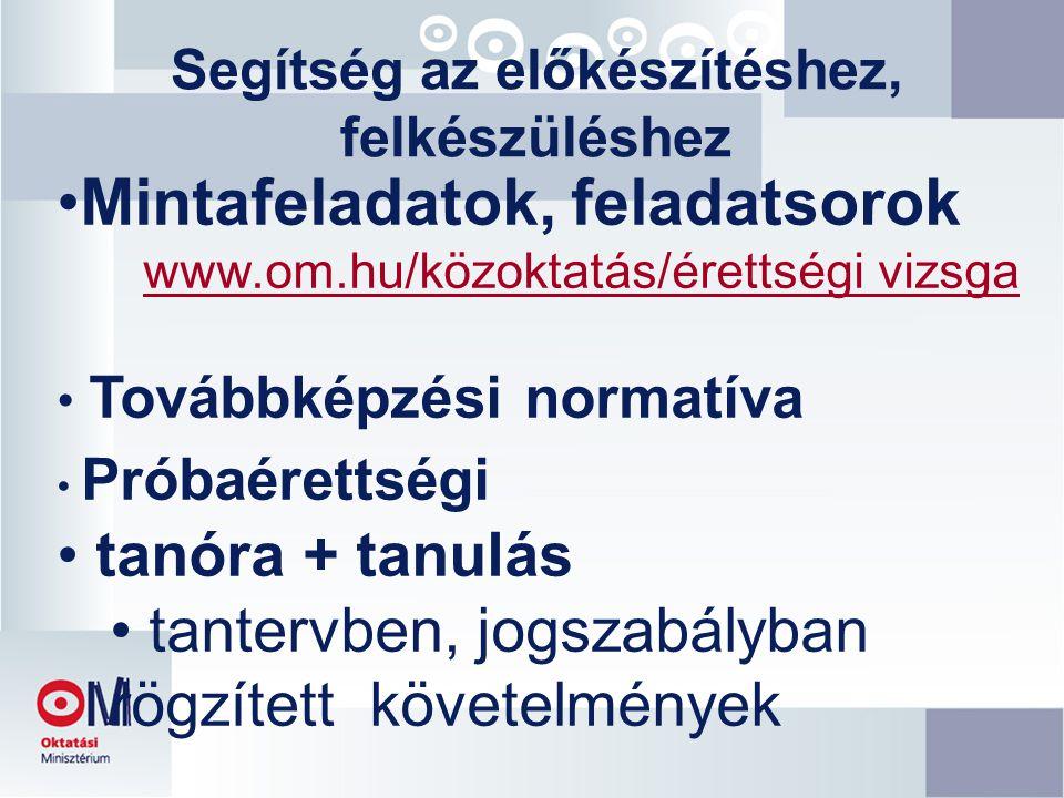 Segítség az előkészítéshez, felkészüléshez Mintafeladatok, feladatsorok www.om.hu/közoktatás/érettségi vizsga Továbbképzési normatíva Próbaérettségi tanóra + tanulás tantervben, jogszabályban rögzített követelmények