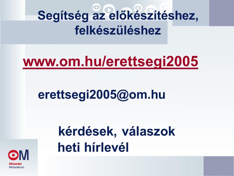 Segítség az előkészítéshez, felkészüléshez www.om.hu/erettsegi2005 erettsegi2005@om.hu kérdések, válaszok heti hírlevél
