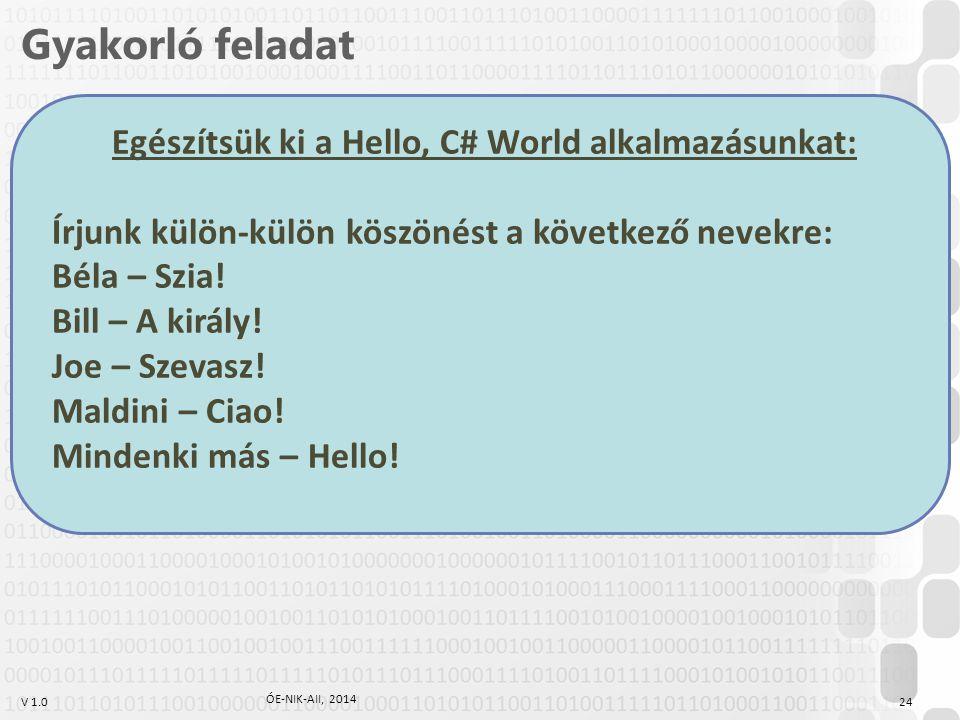 V 1.0 Gyakorló feladat Egészítsük ki a Hello, C# World alkalmazásunkat: Írjunk külön-külön köszönést a következő nevekre: Béla – Szia! Bill – A király